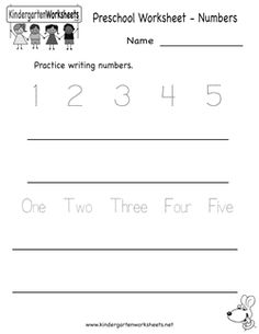 Simple numbers worksheet, but focuses on five numbers at a time.