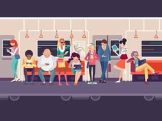 People in the subway designed by Lemons (ex-Lemon Digital). Connect with them on Dribbble; the global community for designers and creative professionals. Train Illustration, People Illustration, Graphic Design Illustration, Digital Illustration, Map Design, Logo Design, Detail Art, Motion Design, Ideas