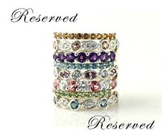 Stackable birthstone right-hand rings for the hubby & add future kids later