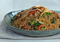 Japchae (Korean Stir-Fried Starch Noodles with Beef and Vegetables) To make GF use Tamari or a GF soysauce - Korean Bapsang
