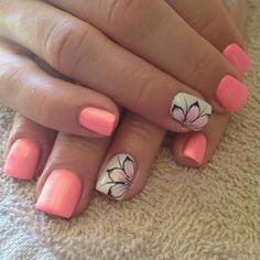 cool orange floral nail art. For more nail art ideas, visit www.nailartbank.com