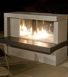 The Manhattan Outdoor Gas Fireplace by American Fyre Designs offers a contemporary style combined with a unique design - a great choice to be the center of your patio space. Built from a high quality glass-fiber reinforced concrete, this fireplace is res Natural Gas Fireplace, Outdoor Gas Fireplace, Linear Fireplace, Fireplace Mirror, Fireplace Ideas, Mounted Fireplace, Gas Fireplaces, Electric Fireplaces, Mantel Ideas