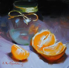 Jar and Orange - Original Fine Art for Sale - � by Elena Katsyura