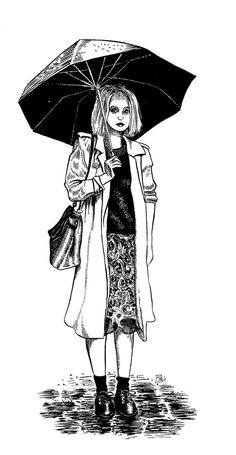 Girl With Umbrella Brush and Ink Drawing by christiannebenedict