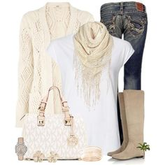 So cute- tall beige boots with white and top with beige scarf .