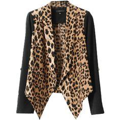 Leopard Print Long Lapel Chiffon Blazer - Polyvore