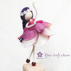 Ballerina Rose Petal Doll with white crochet hairband, Radiant Orchid Doll, Rose Princess, Pink Ornament, Flower Petal Doll, , No face doll