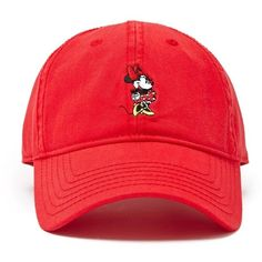 Forever21 Minnie Mouse Baseball Cap (£8.47) ❤ liked on Polyvore featuring accessories, hats, cotton baseball hats, graphic hats, adjustable ball caps, embroidered ball caps and embroidered baseball caps