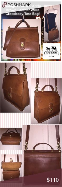 """Vtg COACH Willis Saddle Brn Leather Messenger Bag! Vintage COACH Saddle Brown Leather Willis Shoulder Crossbody Bag! Features: 100% authentic, natural distressed leather, vintage 70's, top handle, one back slip pocket, one under front flap, one int zip pocket, adjustable shoulder strap, brass turn-lock closure, brass tone hardware, Coach hang tag, creed & registration number on inside. Measures: 10"""" high x 10.5'' across x 3 1/2"""" wide. Up to 26"""" body clearance. Very minor ext marks. VG…"""