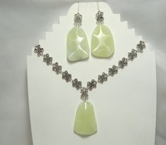 Sea green new jade pendant and earrings set by EllensTreasureTrove