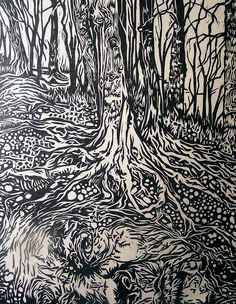 """Title: Mother Earth by Erin Nolan  Medium: Linocut with water-based Graphic Chemical ink on natural hue Japanese Kitakata paper  Print Size: 8"""" wide x 10"""" tall"""