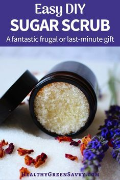 Homemade sugar scrub is a *super* simple DIY spa gift! It just takes mixing a few ingredients you probably already have in your kitchen, but it's an effective skin smoother and the people you give it to will love it. Keep some for yourself! #skincare #sugarscrub #homemadegifts #naturalliving #DIY #handmadegifts #easyhomemadegifts Homemade Body Care, Easy Homemade Gifts, Sugar Scrub Homemade, Simple Diy, Super Simple, Easy Diy, Skin Smoother, Green Living Tips, Green Gifts