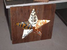 barn star from license plates~how to spelled out with pic