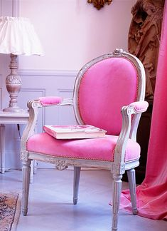 Pink. Pink.  Pink.  Just love Pink.  And, robin Eggs Blue. One chair like this, either in a bedroom, or in a personalized office, dressing room.  Something that says specially for me.