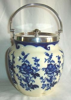 Antique Taylor Tunnicliffe &Co Blue & White Flowers Silver Plated Biscuit Barrel