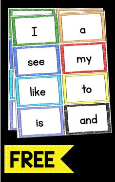 Sight word flash cards FREEBIE - print these flash cards for free and use on your word wall or sight word unit - kindergarten or Pre-K words