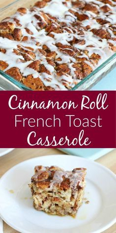 Easy Cinnamon Roll French Toast Casserole - All Things Mamma Breakfast And Brunch, Recipes Breakfast French Toast, Breakfast Dishes, Cinnamon Roll French Toast Bake Recipe, Homemade French Toast, Cinnamon Roll Casserole, French Toast Caserole, Baking Buns, Brunch Ideas