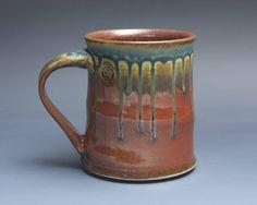 Handmade pottery coffee mug, ceramic mug, stoneware tea cup 16 oz mug glossy tangerine red flake  3958 by BlueParrotPots on Etsy