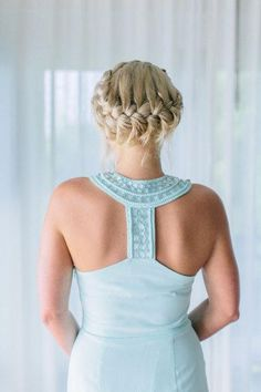 Braid crown and lovely bridesmaid dress. Thailand Wedding from Corbin Gurkin Life Style Easy Summer Hairstyles, Up Hairstyles, Pretty Hairstyles, Braided Hairstyles, Wedding Hairstyles, Hairstyle Ideas, French Braided Bangs, French Braids, Pagent Hair