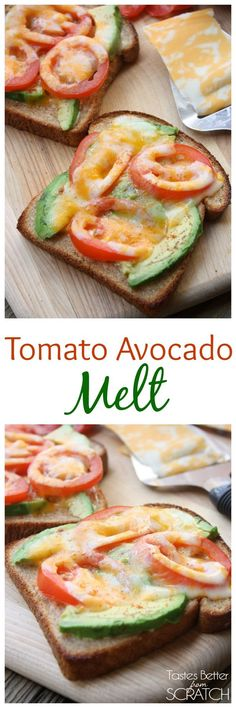 Tomato Avocado Melt   Quick and easy. Cheese Avocado Tomato Whole Grain Bread and a toaster is all you need!
