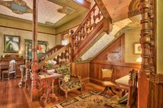 This 1887 Victorian house (known as the Ezell House) is set in half an acre of beautifully landscaped gardens with established heirloom plantings and a new formal boxwood parterre and patio. The house… Victorian Interiors, Victorian Homes, House Interiors, Maine House, My House, Craftsman Interior, Brick Patios, Old House Dreams
