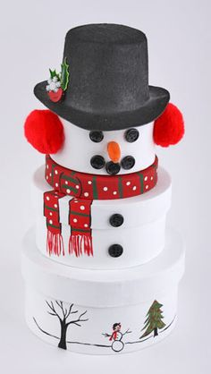 Cute! painted paper box set snowman with button face
