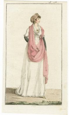 Journal des Luxus und der Moden 1799, Empire style gown Chemise, Hand-colored engraving