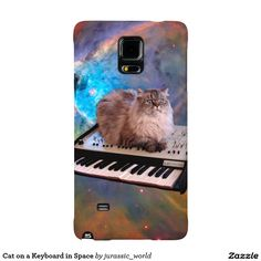 Cat on a Keyboard in Space Galaxy Note 4 Case