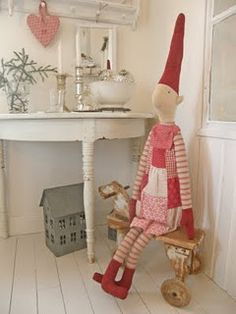 Typical little Christmas corner in a Danish home - this Christmas doll/elf (julenisse=Father Christmas helper) - they make a boy too and also a boy and a girl both made as Christmas calendars made by the Danish company Maileg - they are all absolutely lovely :)