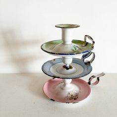 3 French Vintage Enamel Candlestick Holders  by LaVieEnPastis
