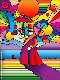 Pop Art psychedelic umbrella man at the beach by Howie Green