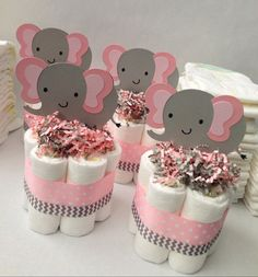 FOUR Pink Grey Elephant Mini Diaper Cakes, Baby Shower Centerpiece, Baby Girl Baby Shower, Pink and Grey Baby Shower, Decoration These mini diaper cakes are the perfect addition to your elephant themed baby shower. A few can be placed on a table or around Distintivos Baby Shower, Mesas Para Baby Shower, Cute Baby Shower Ideas, Shower Bebe, Baby Girl Shower Themes, Girl Baby Shower Decorations, Baby Shower Gifts, Diaper Shower, Shower Party