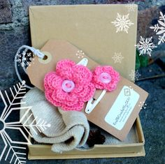 Crochet  hairclips, Crochet pink flower hair clip, small gift, Gift idea