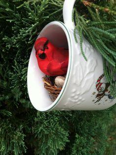 Cardinal & Snowman Teacup Christmas Ornament by VickiAnnCreations, $8.00
