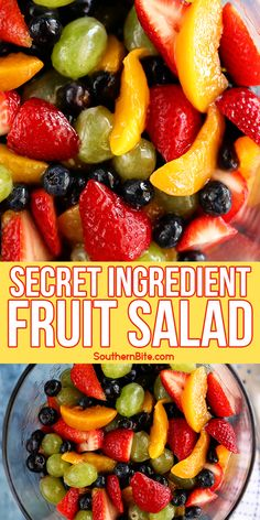 This Secret Ingredient Fruit Salad recipe is quick, easy, and crazy delicious! That secret ingredient is what makes it so yummy! Only 4 ingredients! Spoiler alert: It's peach pie filling! Fruit Salad Recipes, Salad Dressing Recipes, Peach Pie Filling, Brunch Recipes, Dessert Recipes, Eating Light, Fruit Dishes, Cooking Recipes, Healthy Recipes