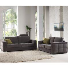 Ensemble canapé 3+2 places gris en tissu OLMETO (12 coloris de coussins au choix)