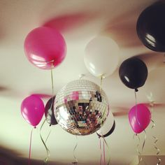 Pink and black Balloons disco ball tween birthday party
