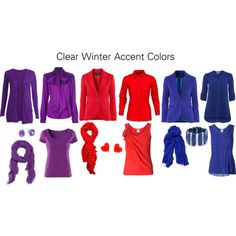 """""""Clear Winter Accent Colors"""" by katestevens on Polyvore"""