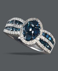Bella Bleu by Effy Collection 14k White Gold Ring, Blue and White Diamond Circle Ring (1-3/8 ct. t.w.) - Rings - Jewelry & Watches - Macy's