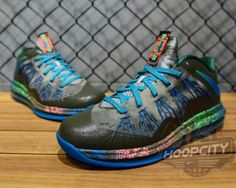 8439f8689237 Nike LeBron X Low Tarp Green Neo Turquoise Poison Green Liking the  understated funk of the design