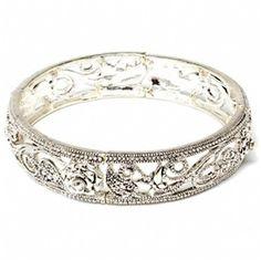 Slim Antique Silver Floral Design Bangle