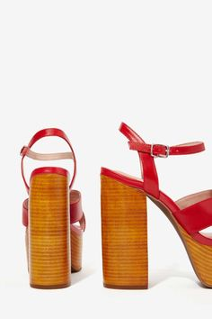 Jeffrey Campbell Geri Leather Platform - Red - Shoes | Sandals | Platforms | Jeffrey Campbell | Ménage au Mirage