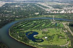 Hawrelak Park and Mayfair Country Club from above, looking northward. Hawrelak Park was the site of many fun activities during my college days.