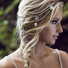 23 Exquisite Hair Adornments for the Bride ❤ liked on Polyvore featuring accessories, hair accessories, flower crown, flower hair accessories, crown headband, bridal comb en bridal headband