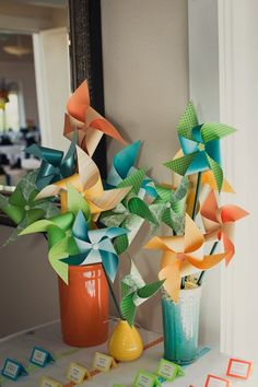 Pinwheel Wedding Decor - these would be cute for an exit/keepsake idea. Stamp a monogram on one of the corners. It would be really cute for a nautical wedding in white/blue/yellow. {Photo by Clark Clark Lee Villas} Summer Wedding Decorations, Summer Weddings, Budget Wedding, Destination Wedding, Wedding Day, Pinwheel Wedding, Boat Cake, Arise And Shine, Summer Deco