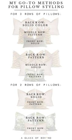 Throw pillow combinations, sizes and styles to use in your bedroom bedroom bedding Pillow Talk: My Go-To Methods For Styling A Bed & 16 Bold Combinations To Use In Your Bedroom Bed Pillow Arrangement, Neutral Bedrooms, Modern Bedrooms, Small Bedrooms, Trendy Bedroom, Master Bedroom Makeover, Bedding Master Bedroom, Gray Bedroom, Boho Home