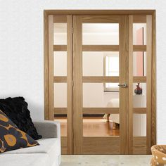 Easi-frame Shaker 4 pane oak door and frame room dividers with many variables for design and finish. Room, Door Sets, Sliding Doors Interior, Doors Interior, Oak Door Frames, Oak Doors, Room Divider Doors, Hallway Designs, Glass Doors Interior