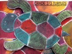 Grade 2/3 turtles using chalk pastels