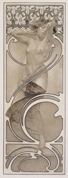 Nymph in Front of a Daffodil Frieze by Alphonse Mucha, from Documents Decoratifs, 1902-03