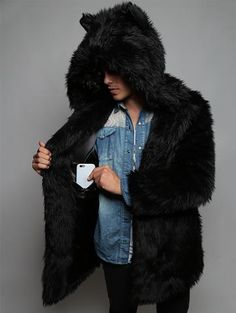 Black Wolf Faux Fur Coat